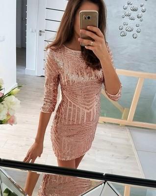 54f96444 asos_as 40 L sukienka cekiny złota różowa LILY - 6542575736 ...
