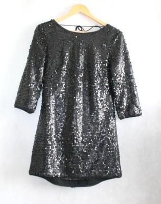 55c4d435a3 H M 38 czarna cekinowa sukienka GOŁE PLECY - 6899660075 - oficjalne ...