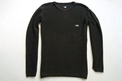 ARMANI JEANS sweter sweterek czarny brązowy logo_L