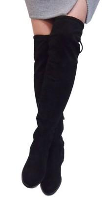 Czarne Muszkieterki Wysokie Kozaki Ocieplane 37 Zdjęcie na