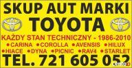 Skup Aut Marki TOYOTA Corolla Carina Hiace Avensis