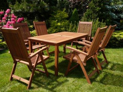 Meble Ogrodowe Drewniane Stol 6 Krzesel Zestaw 6167715646