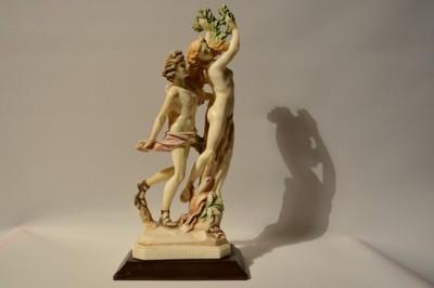 stara figurka Adam i Ewa w raji sygnowana