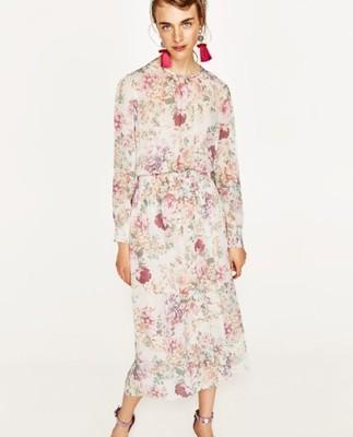 f242aaf5c4 ZARA luźna sukienka z nadrukiem w kwiaty blog M 38 - 6907661483 ...
