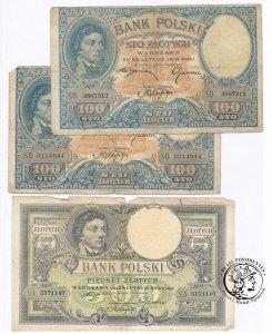 Kościuszko 500 złotych + 2 x 100 złotych 1919 st3-