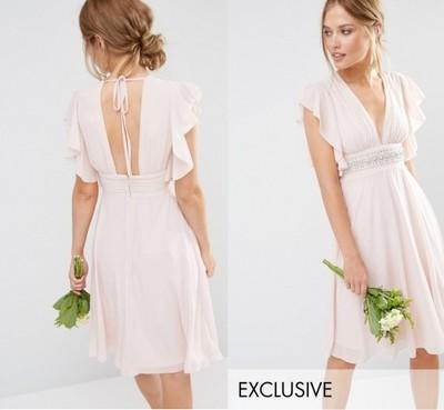 a9b09ce592 Sukienka ASOS TFNC MINI WESELE ZDOBIONA NUDE 36 S - 6826368761 ...