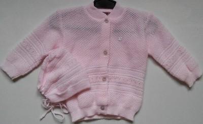 Komplet sweterek i czapeczka 74 prod PL JOANNA róż