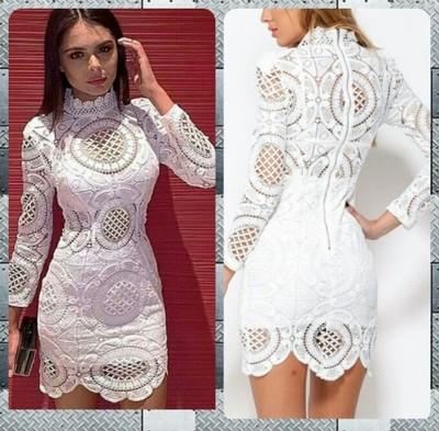 biala sukienka z koronki S (36)