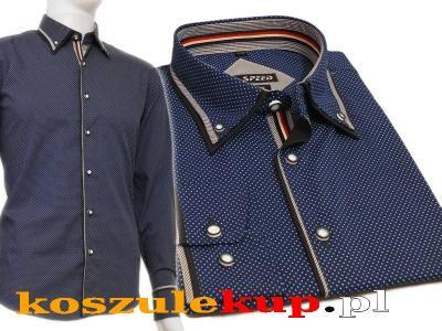 4142 Elegancka koszula męska szafirowa kropki HIT  jxtOZ