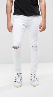 ej5 jeansy exASOS super skinny z dziurami  W36L32