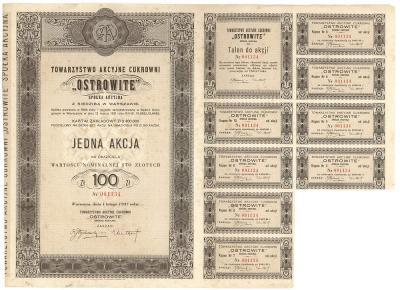3101. Cukrownia OSTROWITE, 100zł 1937
