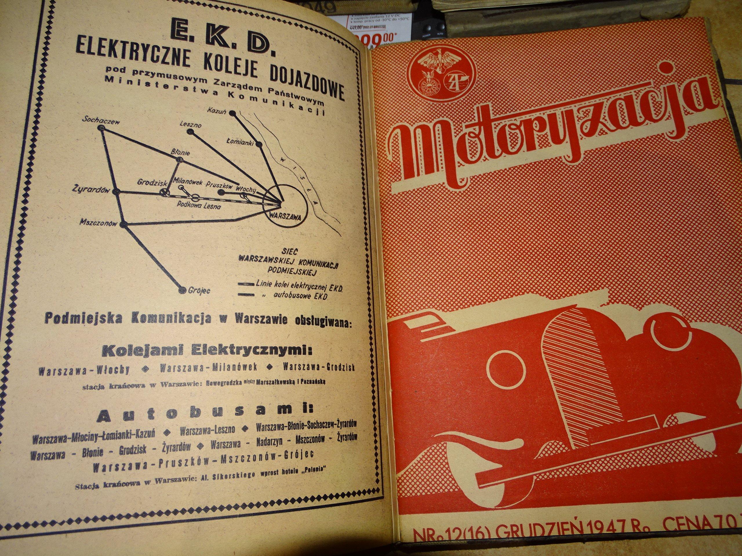 SAMOCHÓD MOTOCYKL MOTORYZACJA AUTOBUS 1946 1947