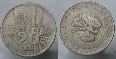 DESTRUKT - Polska - 20 Zlotych 1974 - Skrętka