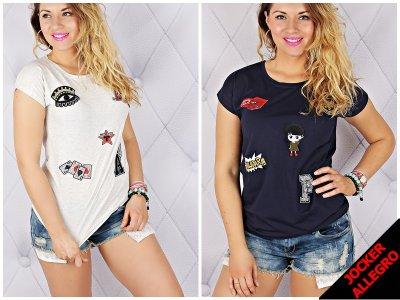 Cool Bluzka Damska T Shirt Z Naszywkami Koszulka 6117913506 Oficjalne Archiwum Allegro