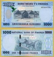 -- RWANDA 1000 FRANCS 2015 BE P39a UNC