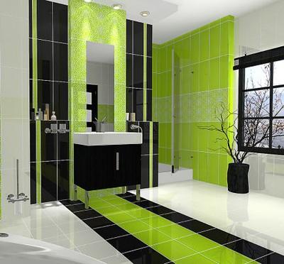 Płytki łazienka 20x50 Białe Limonka Czarne 6308229226