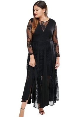 Czarna długa koronkowa sukienka XL XXL 3XL