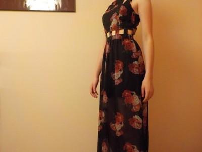 aefc3fa3d2 Czarna sukienka w róże maxi H M S - 6847081097 - oficjalne archiwum ...