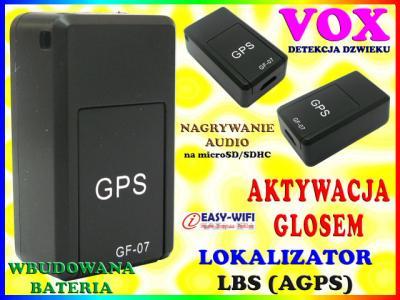 MINI ALARM PODSŁUCH LOKALIZATOR GSM LBS VOX GF-07