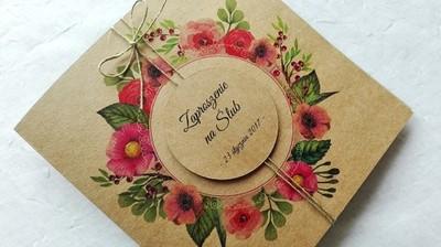 Zaproszenia ślubne Vintage Ekologiczne Wianek 6756270124