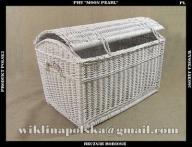 Biały duży wiklinowy kufer na pościel 80cm wiklina
