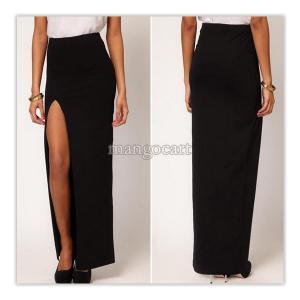 Czarna długa spódnica z rozcięciem XL 4893099020