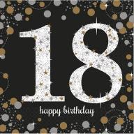 Serwetki papierowe 18 urodziny czarno białe 16 szt