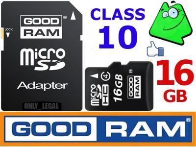 16GB CLASS 10 GOODRAM KARTA PAMIĘCI MICRO SD +ADAP