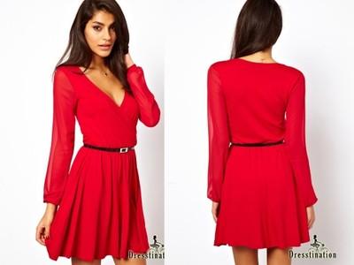ab991ab1ab D1160-La Sukienka Kopertowa SZYFONOWE rękawy 48 - 6616045476 ...