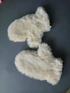 rękawiczki futrzane futerko asos ecru zimowe miś
