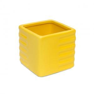 Doniczka Ceramiczna Osłonka Kwadratowa żółta