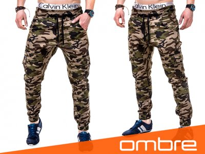 Nowe spodnie męskie moro OMBRE P257 brązowe M 6445857941