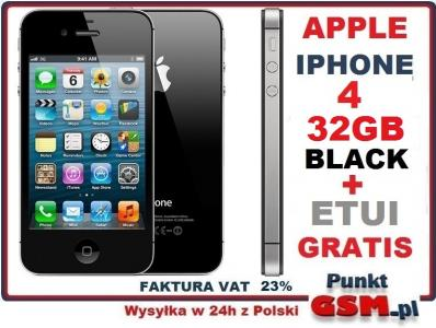 APPLE IPHONE 4 32GB CZARNY + ETUI FV23% GWARANCJA