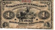 Argentyna Buenos Aires 1 Peso 1869 P-S481