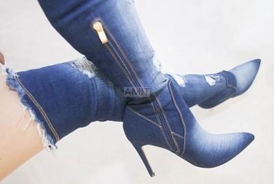 Muszkieterki Kozaki Za Kolano Jeansowe Jeans Denim 6688900975
