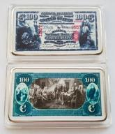USA PIĘKNA SZTABKA 100$ AG KOLOR PLATED POLECAM