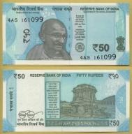 -- INDIE 50 RUPEES 2017 4AS Pnew UNC