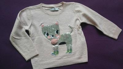 Śliczny sweterek z kotkiem M&S r.98 (2-3l.)
