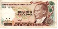 Turcja 5000 Lira 1990 P-198
