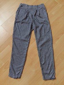 H&M letnie spodnie biało granatowy wzór XS NEW 6364993807
