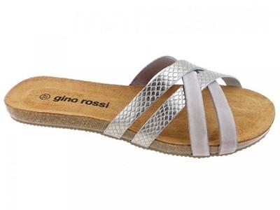 Gino Rossi klapki DL648M srebro skóra 38