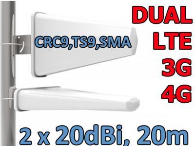 ANTENA DUAL X-CROSS 3G 4G LTE 2x20dBi ZTE HUAWEI