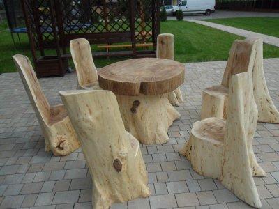 Okazja Meble Ogrodowe Z Pnia Drzewa Stół Krzesła