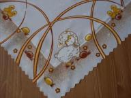 Biały Kwadrat Wielkanocny 80/80 Obrus Serweta Druk