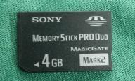 KARTA PAMIĘCI SONY MEMORY STICK PRO DUO 4GB PSP