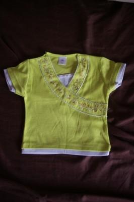 bluzka zielona z krótkim rękawem 98 cm 18m+