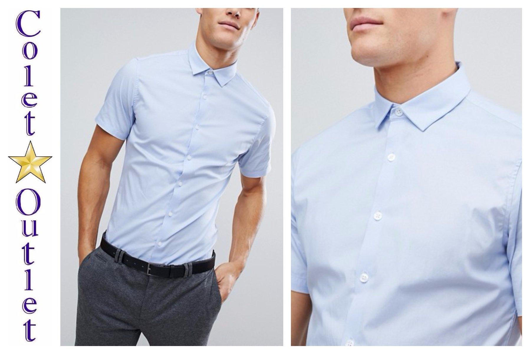 mo72 koszula niebieska krótki rękaw slim XXL 2XL