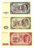 WZORY BANKNOTÓW POLSKICH emisji 1948 i 1965 r.