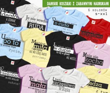 Damskie koszulki ze śmiesznymi nadrukami, S XXL