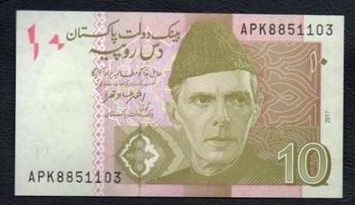 Pakistan 10 rupees 2017 rok. Banknot !